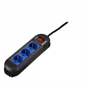 HAMA produžni kabl sa 3 utičnice i prekidačem CRNO/PLAVI 47884