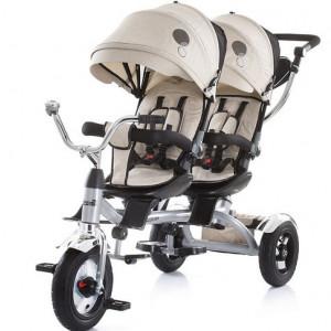 CHIPOLINO Tricikl za blizance Tandem beige 710051