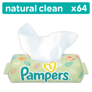 PAMPERS WIPES 4X64 NATURALLY CLEAN