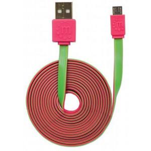 MH kabl USB 2.0 Tip-A Muš/Micro-B Muš. 1m Flat Pink/Zeleni