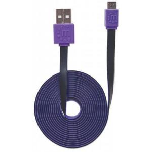 MH kabl USB 2.0 Tip-A Muš/Micro-B Muš. 1m Flat Crno/Ljubiča