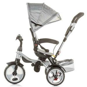 CHIPOLINO Tricikl sa ručkom rapido ash sivi 710048