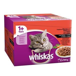 WHISKAS hrana za mačku, izbor mesa 12x100g 520257