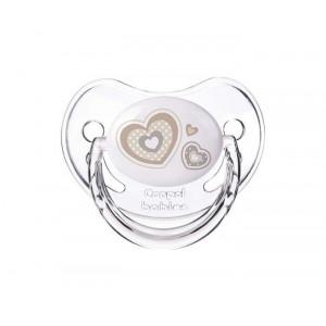 """CANPOLBABY  orthodontic silikonska varalica 6-18M 22/566_bei """"Newborn baby"""" 1kom - HEARTS"""