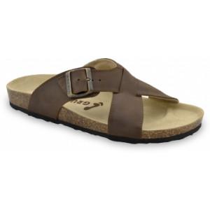GRUBIN muške papuče 1084010-BORSALINO, Braon 40