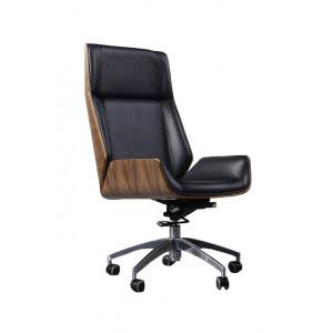 MILANDA Nordic Office Fotelja - Visoki naslon Crna/Orah 30117