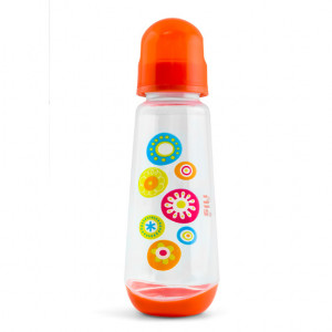 ELFI plastična flašica sa silikonskom cuclom 250ml RK02 - narandžasta
