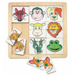 WOODY puzzle sa glavama životinja 90312