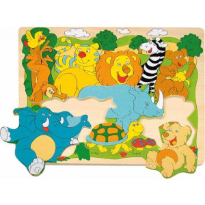 WOODY puzzle vesele afričke životinje 90341