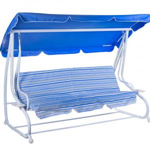 CRETE DELUXE baštenska ljuljaška trosed plavo/bela 023747