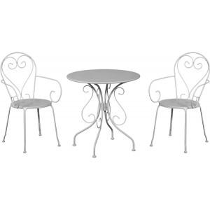 Baštenski set MOKA beli sto i 2 stolice