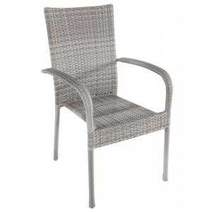 Baštenska stolica od ratana AVOLA - siva 047064