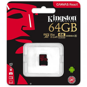 KINGSTON microSDXC 64GB Class 10 (V30) A1 UHS-I 100MB/s 80MB/s SDCR/64GB