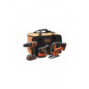 BLACK&DECKER akumulatorska udarna bušilica + ubodna testera + mouse brusilica 18V 1.5 Ah BCK31S1S