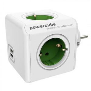 POWERCUBE produžni kabl 4xŠuko+2USB-5V/2.1A, zelena