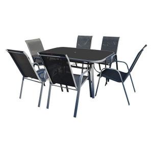 Baštenska garnitura Como sto i 6 stolica – crna * LAG