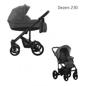 BEBETTO magnum kolica za bebe crni ram, set 3u1 DEZEN 230+KREVETAC POKLON