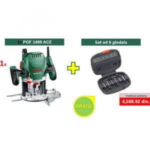 Bosch površinska glodalica POF 1400 ACE + POKLON 6-delni set glodala 060326C820