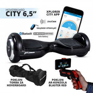"Xplorer hoverboard city 6,5"" black Poklon Torba i AR Gun Blaster Red"