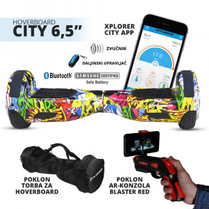 "XPLORER hoverboard city 6,5"" hiphop Poklon Torba i AR Gun Blaster Red"