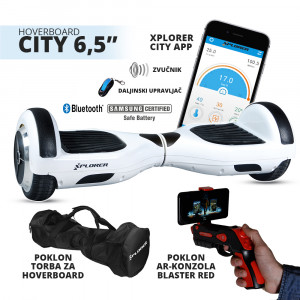 "XPLORER hoverboard city 6,5"" white Poklon Torba i AR Gun Blaster Red"