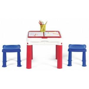 Sto dečiji Constructable sa dve stolice set, crvena/plava/bela CU 227497