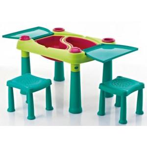 Sto dečiji sa dve stolice set, tirkizna/svetlo zelena  CU 231593