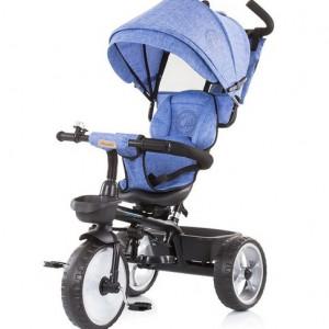 CHIPOLINO Tricikl sa ručkom I sedistem koje se rotira za 360 TEMPO blue linen 710054