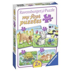 RAVENSBURGER puzzle - moje prve puzle, 4 u 1, ljubimci RA06951