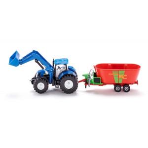 SIKU new holland traktor sa prednjim utovarivačem i strautmann mikserom za stočnu hranu 1988