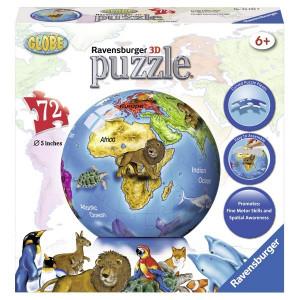 RAVENSBURGER 3D puzzle (slagalice) - globus sa životinjama RA12126