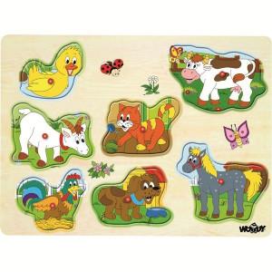 WOODY puzzle vesele domaće životinje 90340