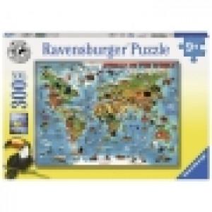Ravensburger puzzle (slagalice) - Ilistrovana karta sveta RA13257