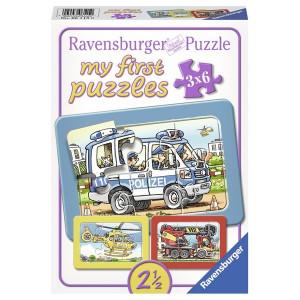 RAVENSBURGER moje prve puzle, 3 u 1, policija i vatrogasci RA06115