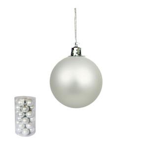Novogodišnji ukras kugle srebrne 6 cm pakovanje 30 komada 170526