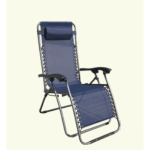 MESSINA baštenska stolica podesiva sa jastukom metalna plava 055681
