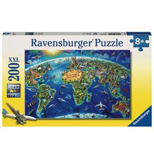 RAVENSBURGER puzzle (slagalice) - Karta sveta sa znamenitostima RA12722