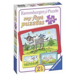 RAVENSBURGER moje prve puzle, 3 u 1, ovca, magarac, koza RA06134