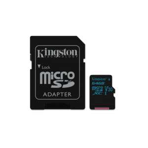 KINGSTON microSD 64GB 90MB/s-45MB/s, UHS-I U3 + SD adapter SDCG2/64GB