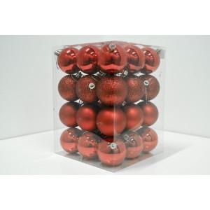 Novogodišnji set PVC kugle 36/1 crveni 19001