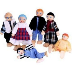 WOODY Lutke za kućicu - farma porodica 6 komada 90620