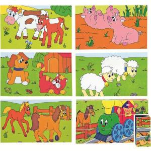 WOODY Puzzle- Srećan Maša i životinjska farma 3x5 93004