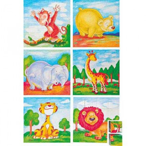 WOODY puzzle - slika zivotinej iz dzungle 4x4 90035