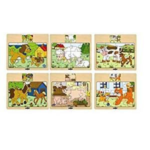 WOODY Puzzle 6 motiva, pakovanje od 12 komada 93010