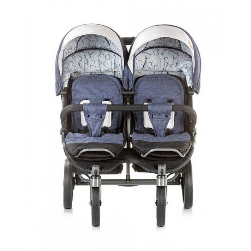CHIPOLINO Kolica za blizance Twix blue jeans 710056