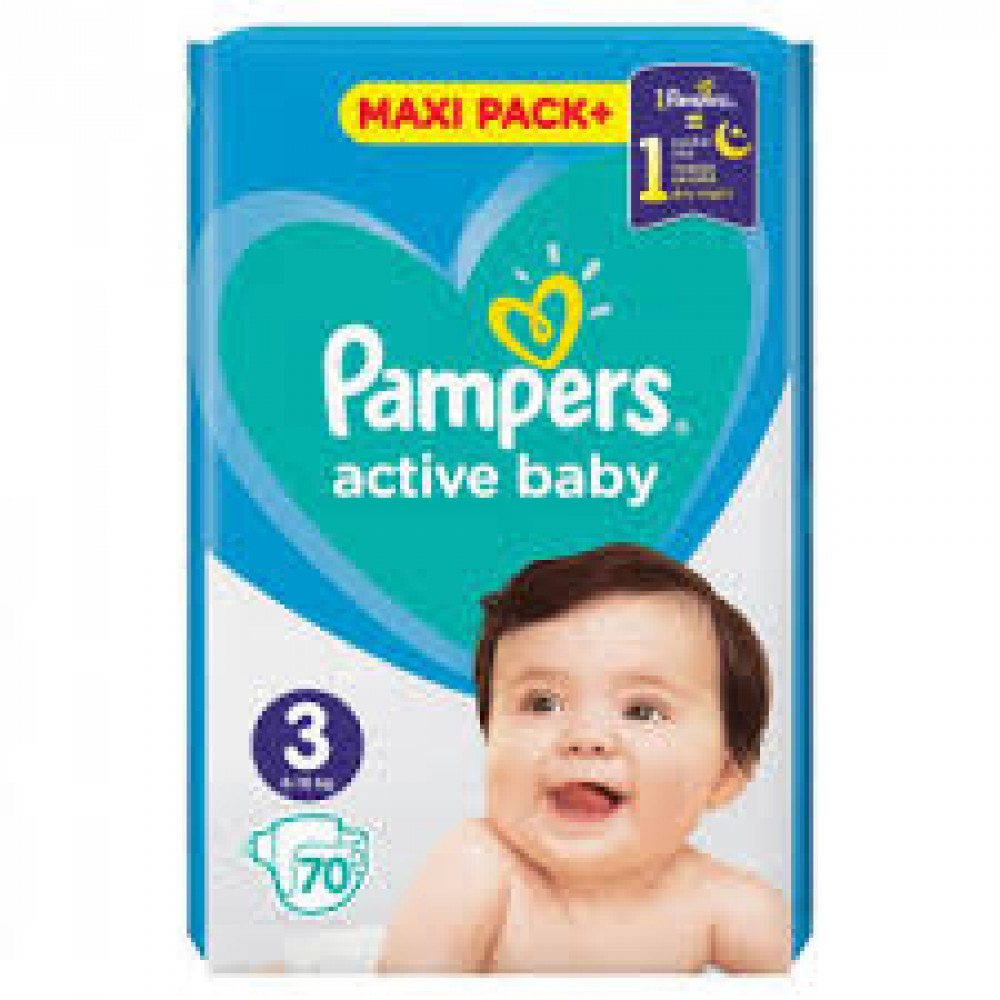 PAMPERS ACT JPM 3 (70) + WIPES 2x12kom