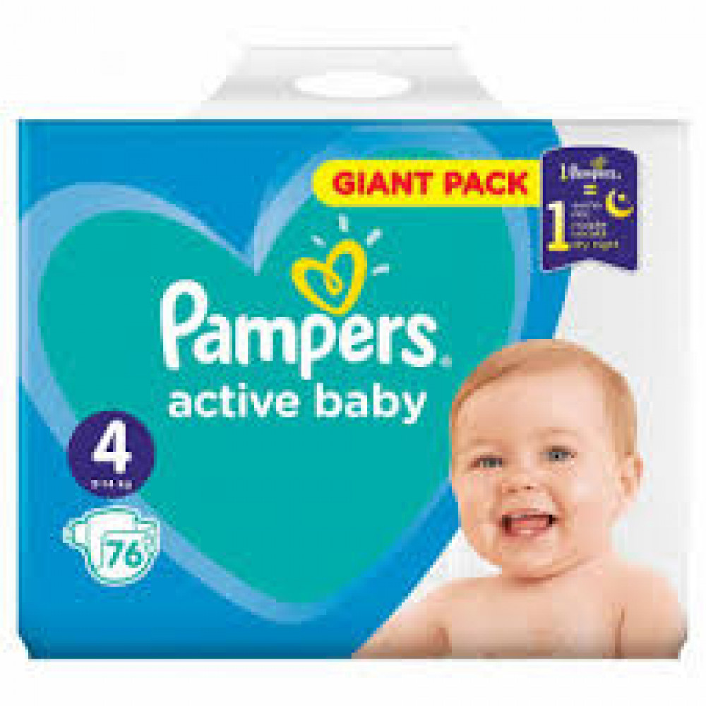 PAMPERS ACT JPM 4 (62) + WIPES 2x12kom